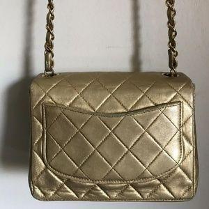 CHANEL Bags - Chanel Mini Flap Gold Lambskin Leather Cross Body